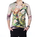 HOT 2016 Mens T Shirts Fashion New V-Neck Slim Fit Long Sleeve 3D T Shirt Mens Clothing Dragon Print Casual Cotton T-Shirt M-5XL