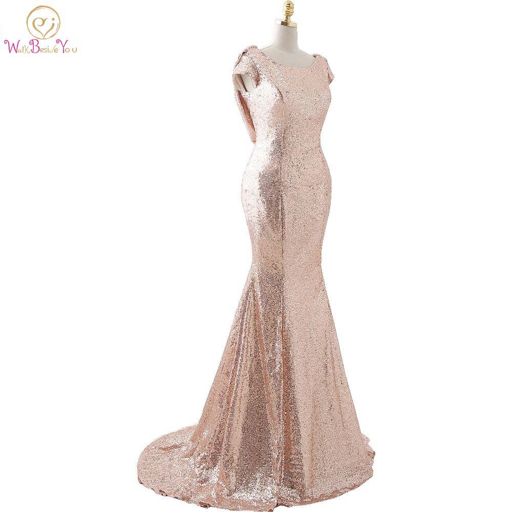 100% Real Photo Rose Gold Bridesmaid Dresses Sequined Bling Spakle Short Sleeves Mermaid vestidos largos para la fiesta de boda