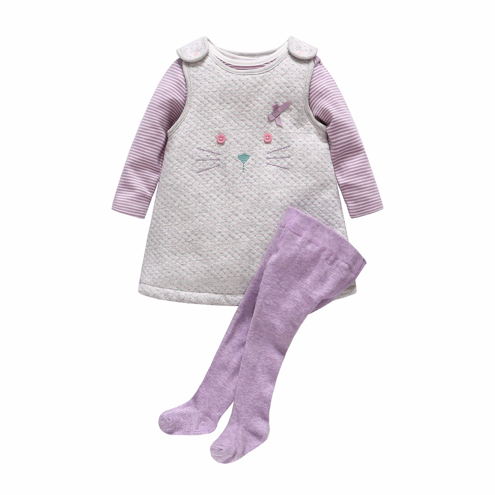 Spring and Autumn models long-sleeved cotton little cat dress dresses triangle jeans pants socks 3 sets of suits baby girls dres