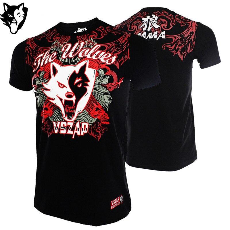 VSZAP Training Fitness Wearing Boxing Jerseys Mma Boxing Clothing Wolf Muay Thai T Shirt Tank Top Martial Arts Style Shirts