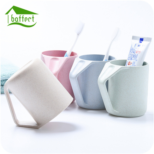 Wheat Straw Inverted Bathroom Tumblers Toothbrush Holder Wash Cups Wash  Tooth Mug Thick Circular Rinsing Cups