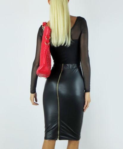 Customize Women Plus Big Size Black Wine Red Khaki Faux Leather Pencil Skirt Ladies Back Zippered Midi Skirts Saias Lapis