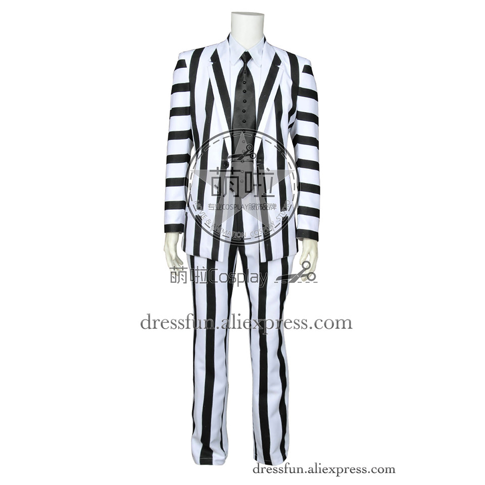 Beetlejuice Betelgeuse Cosplay Michael Keaton Costume Outfits Uniform Suit Coat Shirt Halloween Fashion Party Fast Shipping