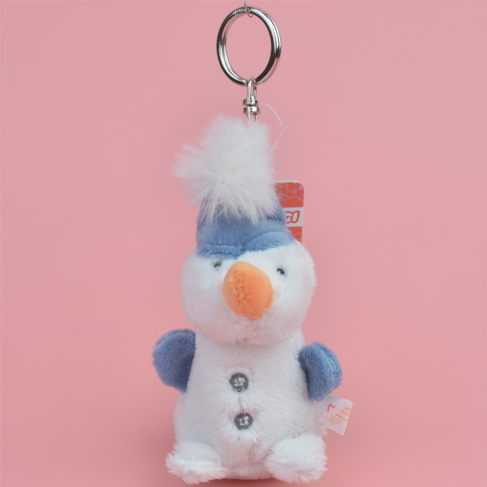 3 Pcs Blue Hat Snowman Small Plush Pendant Toy, Kids Doll  Keychain / Keyholder Gift Free Shipping