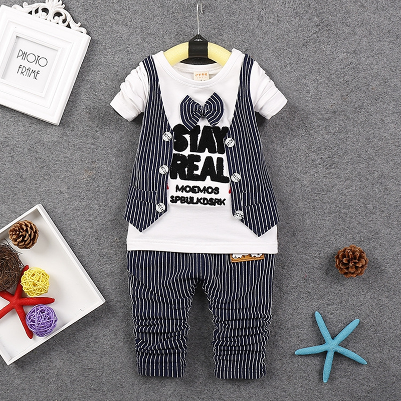 infant baby boy clothes formal sets 2016 new Spring gentlemen baby boys suits 2pcs long sleeve necktie shirts+striped pants 2017 nice boy baby infant formal gentleman baby boy clothes button necktie suit romper 0 24m long sleeve baby clothing sets