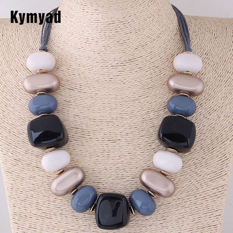Kymyad Bohemian Vintage Choker Necklace Women Resin Stone Necklaces & Pendants Collier Femme Beads Necklaces Jewelry Collares