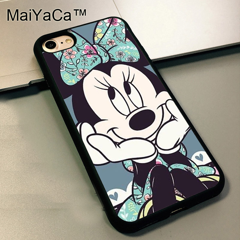 MaiYaCa Minnie Mouse Floral Soft Case For Apple iPhone 5 TPU Case for iPhone SE 5S full Protective Back Cover Coque