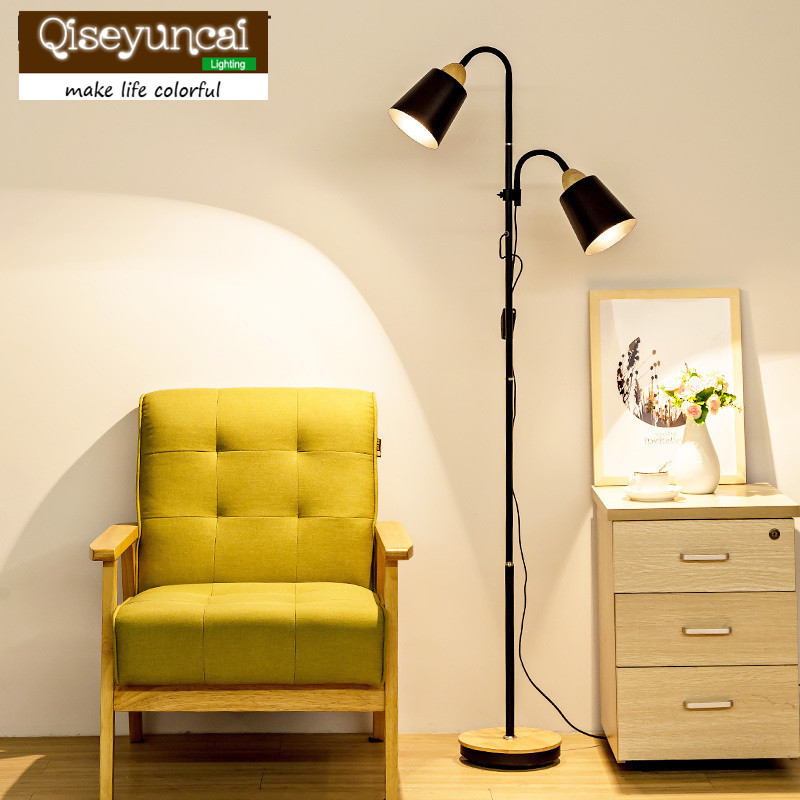 Qiseyuncai Nordic creative wood floor lamp simple modern living room study vertical table lamp remote control LED floor Lamp стоимость