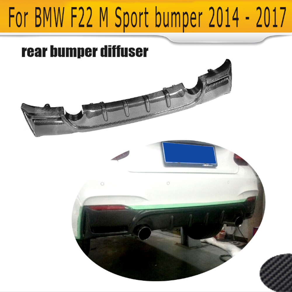 2 Series carbon fiber car rear bumper lip spoiler diffuser for BMW F22 M Sport Coupe 14-17 Convertible Black FRP 220i 230i 235i