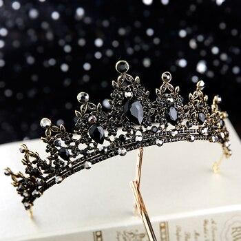 Baroque Retro Black Luxury Bridal Crystal Tiaras Crowns Princess Queen Pageant Prom Rhinestone Veil Tiara Wedding Hair Accessory