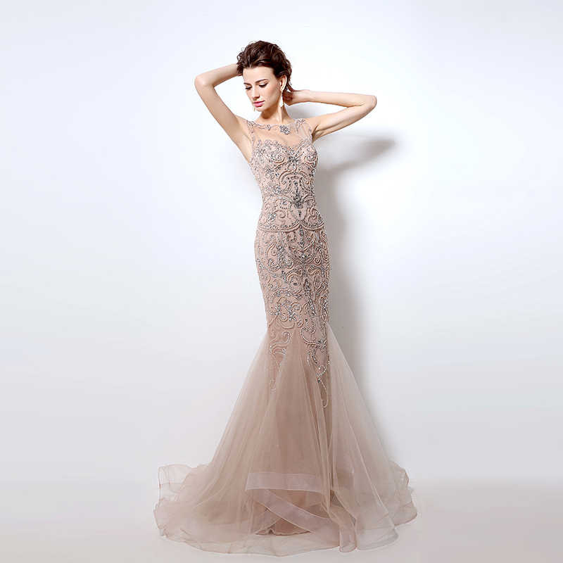 c7a7996646 2018 Luxury Crystal Mermaid Evening Dresses with Beading Illusion Tulle  Sleeveless Long Elegant Women Evening Party Gowns OL006