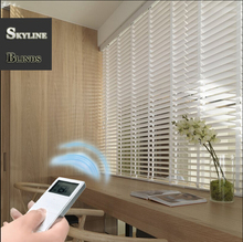 FREE SHIPPING MOTORIZED WHITE  WOODEN BLINDS -- MADE TO MEASURE 5CM & 3.5CM WIDTH SLATS