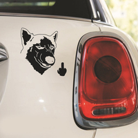 Funny Cool Serious Husky Dog Flipping Finger Car Truck SUV Laptop Sticker Decal car sticker 3