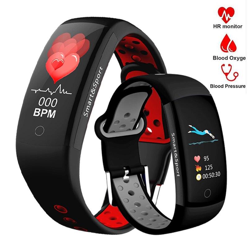 Q6 reloj mujeres hombres Monitor de ritmo cardíaco presión arterial Fitness podómetro inteligente reloj deportivo pulsera Smartwatch