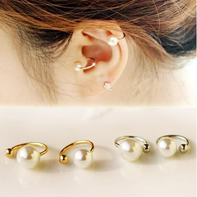 2 pieces פרל קליפ על לעטוף עגיל Tragus אוזן קאף קליפ מזויף לא חור פירסינג גוף תכשיטי Dilataciones Falsas