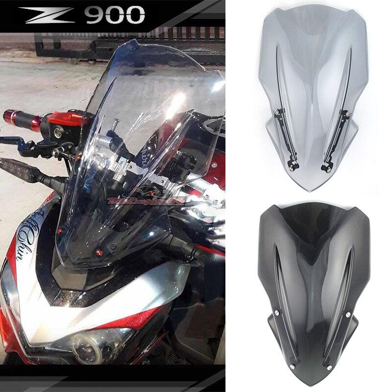 Motorcycle Windshield Windscreen w/ Adjustable Bracket Airflow Wind deflector Screen For 2017 Kawasaki Z900 Z 900 2018