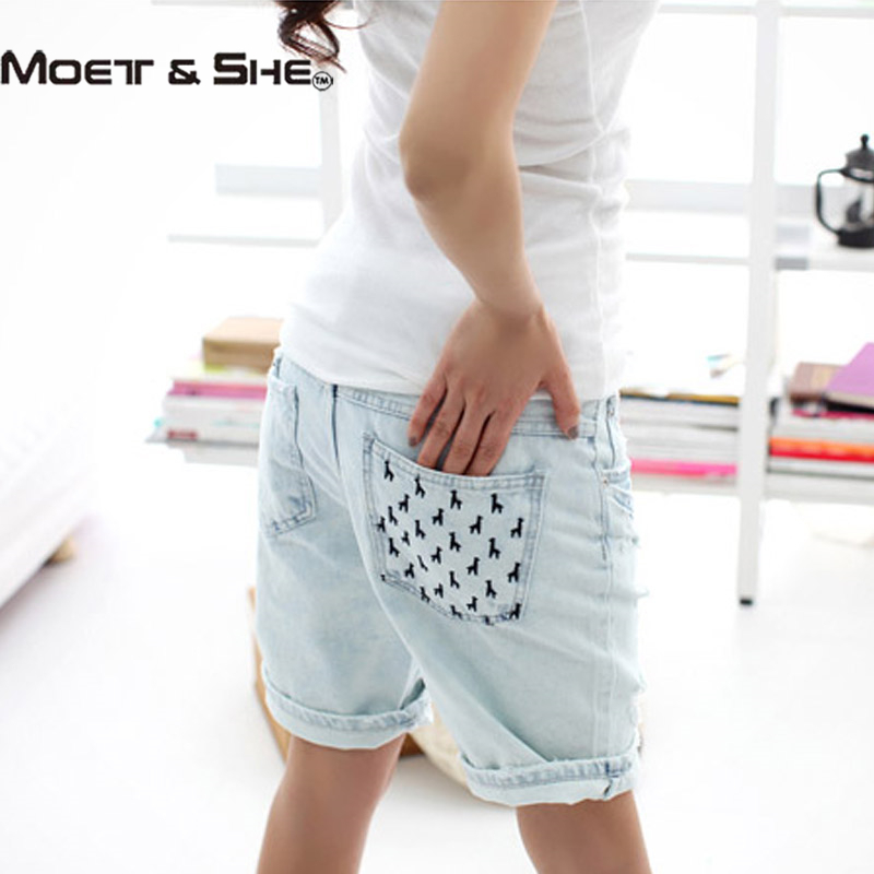 a5333f1cf4 ... Hot Women's Jeans Short Dog Embroidery Holes Ripped Pockets Knee Length  Denim Shorts ...