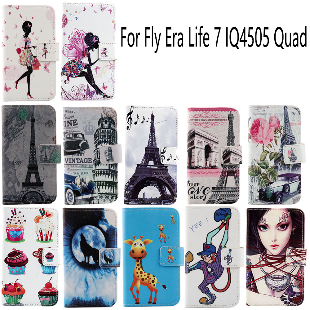 AiLiShi In Stock Luxury Book-Design Flip Protective Phone Cover Skin PU Leather Case For Fly Era Life 7 IQ4505 Quad
