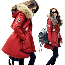 2016 Winter New Women Army Green Parka Jacket Coats Thick Real Raccoon Fur Collar Hooded Hot Sale Brand