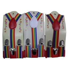 Free Shipping 2017 New Cute Kids Child Toddler Multicolor Rainbow Striped Suspenders For Boys Girls