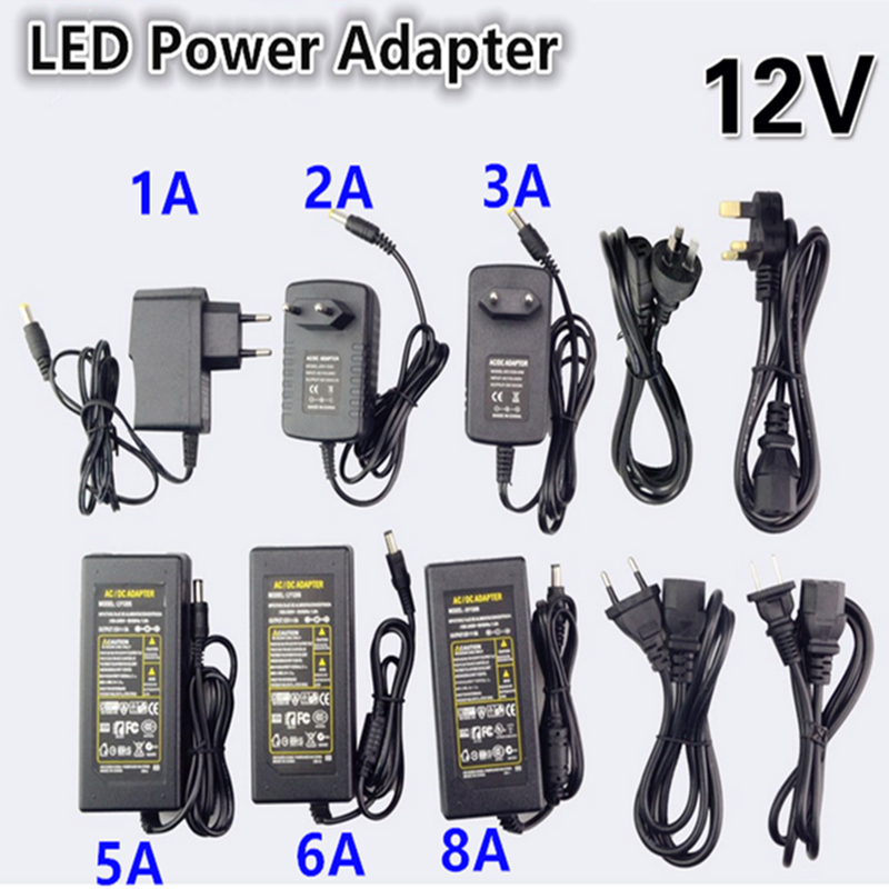 NEW DC LED Power Supply Charger Transformer <font><b>Adapter</b></font> 1A-12.5A 110V 220V to <font><b>12V</b></font> For LED Strip 5050 3528 EU US AU UK Cord Plug Sock image