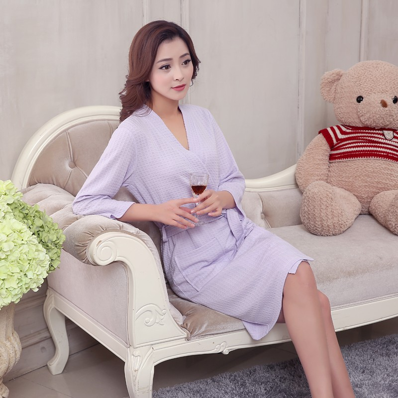 Unisex Mens Women's Long Cotton Sleep Lounge Robes RBS-C LYQ115 30