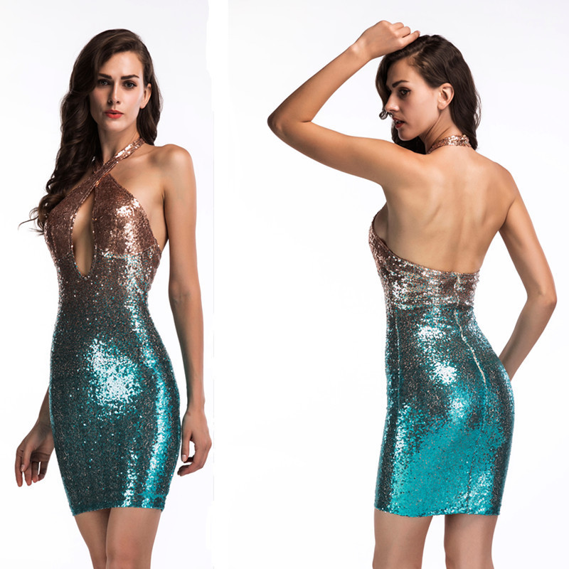 Luxury Sexy Blue Mermaid   Cocktail     Dresses   Short Halter Sleeveless Sequined Backless Bodycon Formal Summer Evening Party   Dresses