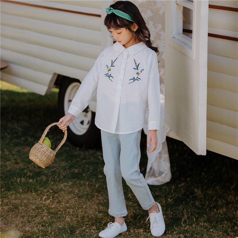 Big Girls Clothes Toddler Girls Embroidery Flowers Bow Shirt and Jeans Suit Children Clothes 4 8 10 12Y Girls Fashion 2PCS SetBig Girls Clothes Toddler Girls Embroidery Flowers Bow Shirt and Jeans Suit Children Clothes 4 8 10 12Y Girls Fashion 2PCS Set