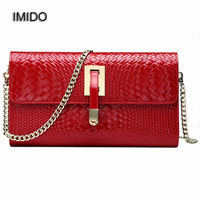 IMIDO Brand 2017 Genuine Leather Women Shoulder Bag Female Party Crossbody Chain Bag Handbag Quilted Clutch