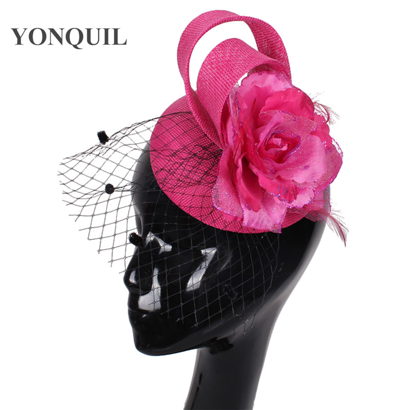 81c80a6aa9840 hot pink fascinator with black birdcage veil imitation sinamay fascinators  hats bridal hair accessories High quality 15colors -in Women s Hair  Accessories ...