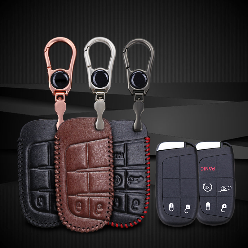 KUKAKEY Leather Car Key Case Cover For Jeep Grand Cherokee Compass Wrangler Renegade Hard Steel 2016 2017 Chrysler 300C For Fiat in Key Case for Car from Automobiles Motorcycles