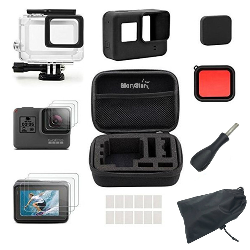 цена на For Gopro Accessories Set For Gopro Hero 5 Hero6 Camera Mount Waterproof Housing Case With Silicone Lens Protective Film
