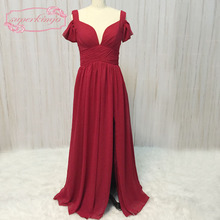 SuperKimJo dark red bridesmaid dresses off the shoulder pleats sweetheart neckline chiffon long dress real