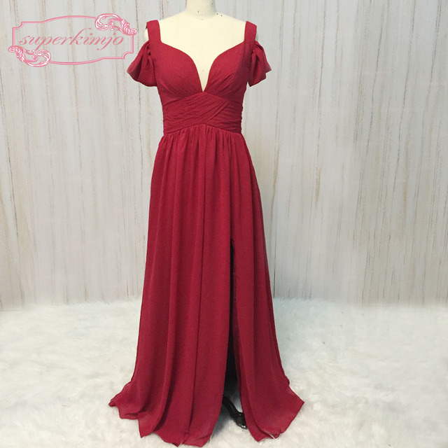 SuperKimJo dark red bridesmaid dresses off the shoulder pleats ...