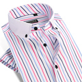 Summer 2017 Men's Short Sleeve Vertical Striped Dress Shirts Square Collar Slim Fit Breathable Bamboo Fiber Casual Shirts