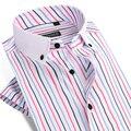 Verão 2017 Camisas de Vestido Dos Homens de Manga Curta Listrada Vertical Praça Collar Slim Fit Respirável Fibra de Bambu Casuais Camisas