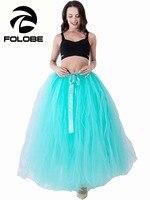 FOLOBE Handgemaakte Voorraad Mintgroen Puff Vrouwen Chiffon Tule Rok faldas Hoge taille Maxi Lange Vrouwelijke Tutu Rokken Plus Size