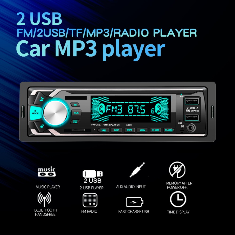 Radio Car Autoradio 1 Din Bluetooth SD MP3 Player Coche Radios Estereo Poste Para Auto Audio Stereo Carro 2 DOUBLE USB image