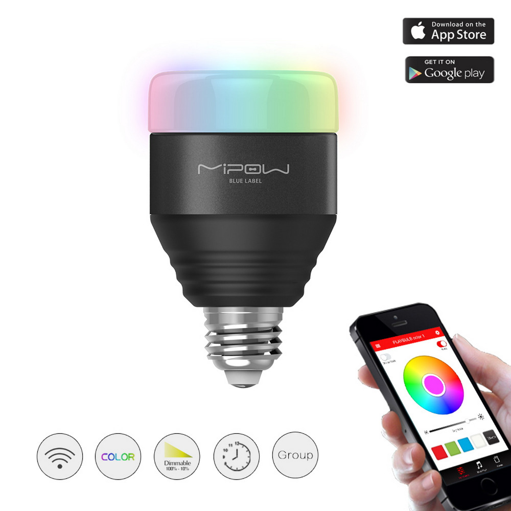 MIPOW Bluetooth Smart LED Bombillas 5W E27 Playbulb APP Smartphone Control controlado por grupo Regulable Cambio de color Iluminación inteligente