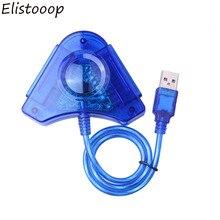 Elistooop Joypad Spiel USB Dual Player Konverter Adapter Kabel Für PS2 Dual Playstation 2 PC USB Spiel Controller CD Fahrer
