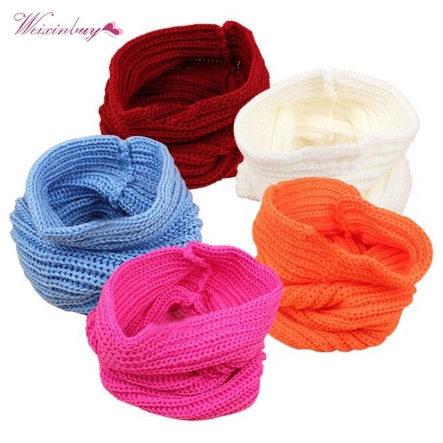 Niño unisex ganchillo hecho punto Bufandas 5 colores niños bebé ...