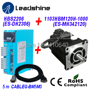 Leadshine  Easy Servo Drive HBS2206 Direct 220/230 VAC Input 6A   Current PLUS Easy Servo Motor NEMA42 1103HBM120H-1000 12 Nm leadshine gongzheng gzc3212dp gzcs3206 3208ds printer dc servo motor drive dcs810