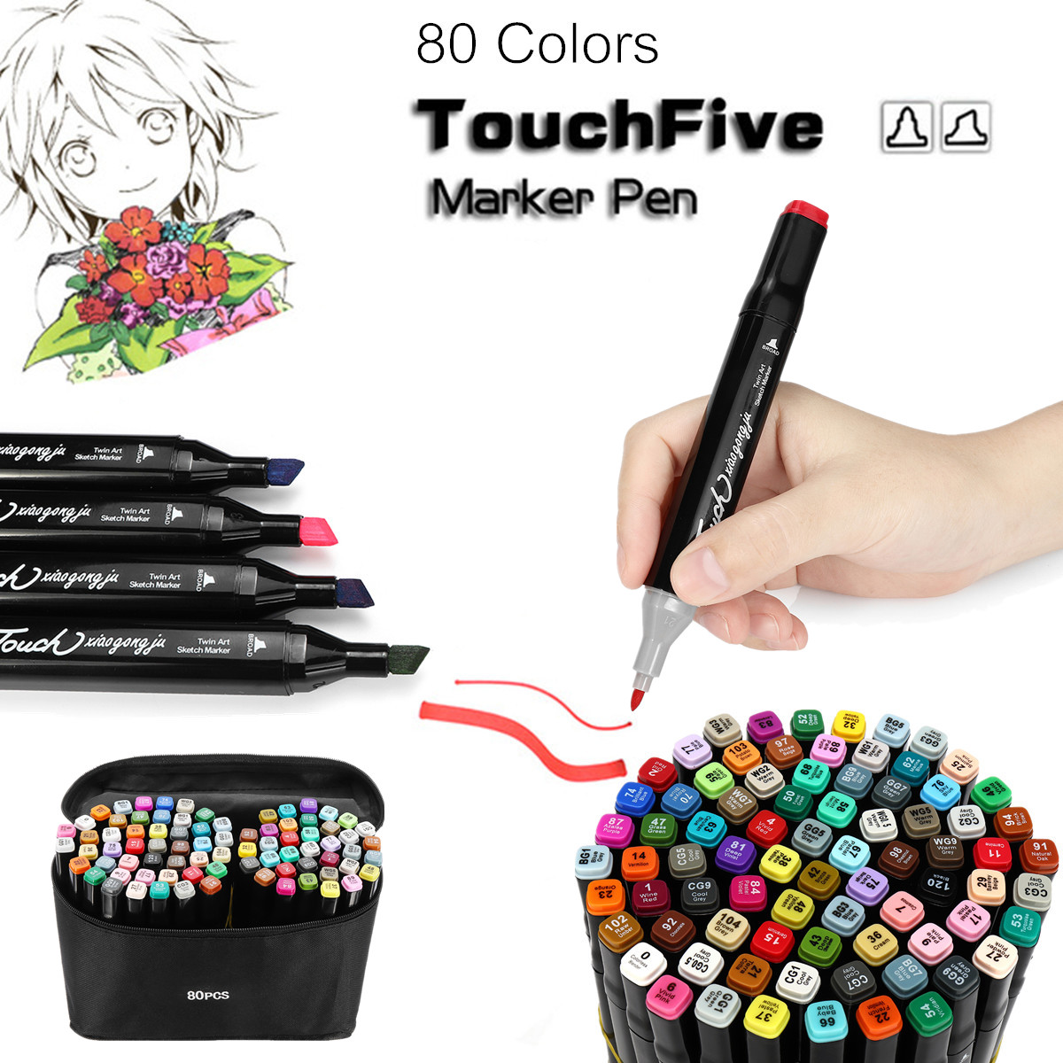80 Colors Drawing TouchFive Markers Pen Dual Head Tips Graphic Art Set Gift + Outline Pen Colorful not Fading Round Oblique Tip touchnew 60 colors artist dual head sketch markers for manga marker school drawing marker pen design supplies 5type