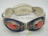 XFS2665>>Beautiful tibet silver inlay 5 red Zircon old Enamel cloisonne Flower bracelet