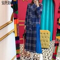 SuperAen Fashion Women Plaid Dress Long Sleeve Cotton Casual Wild Ladies Long Dress Spring New 2019 Korean Style Women Clothing