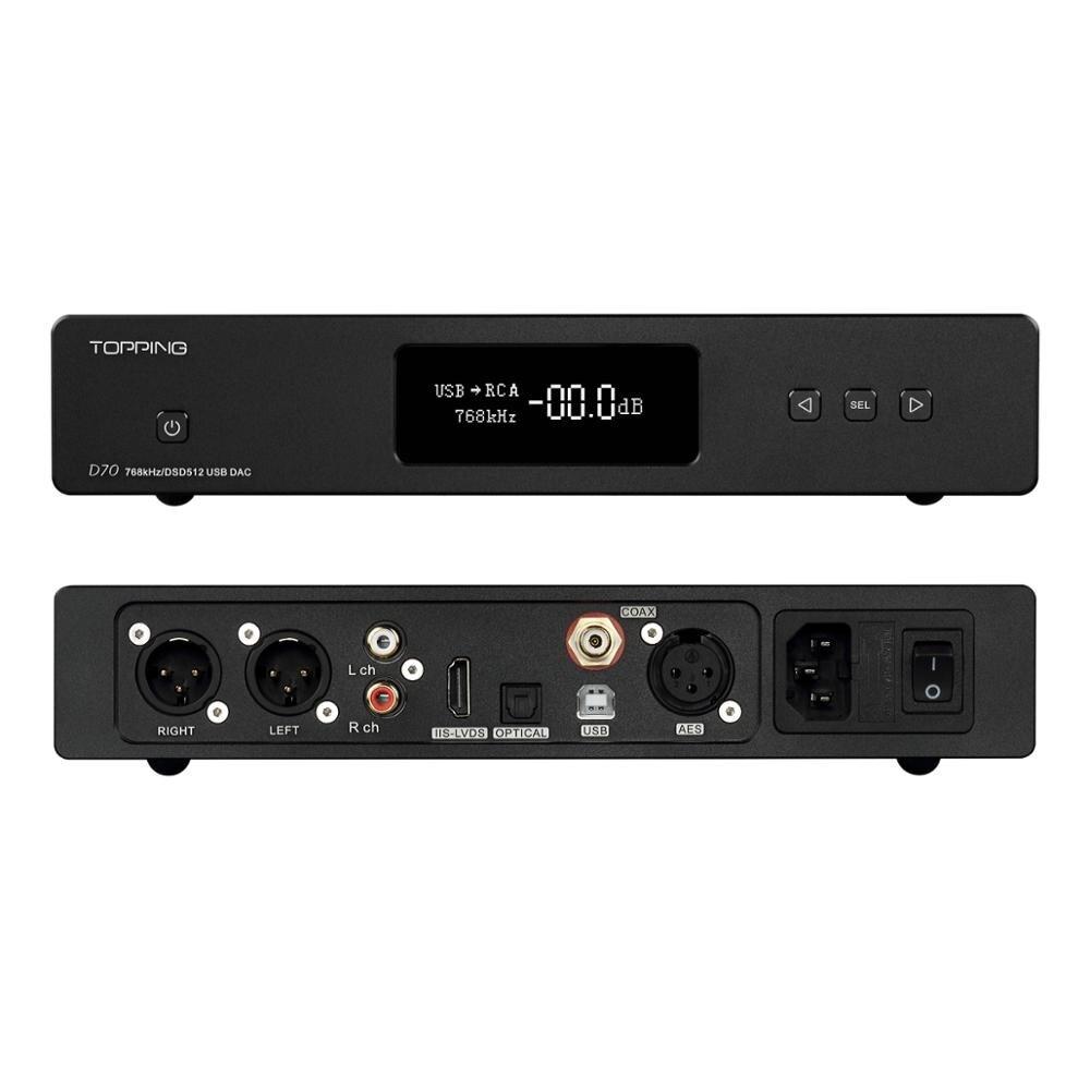 TOPPING D70 DAC auriculares amplificador Hifi USB DAC AK4497 Amp XMOS XU208 OPA1612 DSD512 óptico Coaxial de entrada