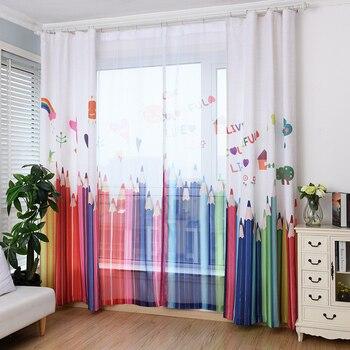 Koreanischen Stil Kindheitstraum Buntstifte Tüll Für Schlafzimmer Fenster  Vorhänge Für Wohnzimmer Kind Jalousien Vorhänge