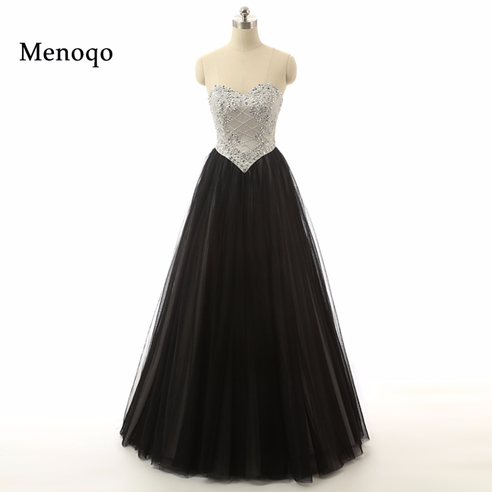2019 Custom Made Black and White Sweetheart Evening   Dress   High Quality Elegant Sexy A line Beaded Long   Prom     Dress   Real Photos