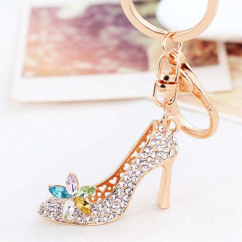 Изысканный горный хрусталь Обувь брелок Высокие каблуки металлический брелок Для женщин автомобиль сумки Талисманы Key Holder кулон ювелирные ...