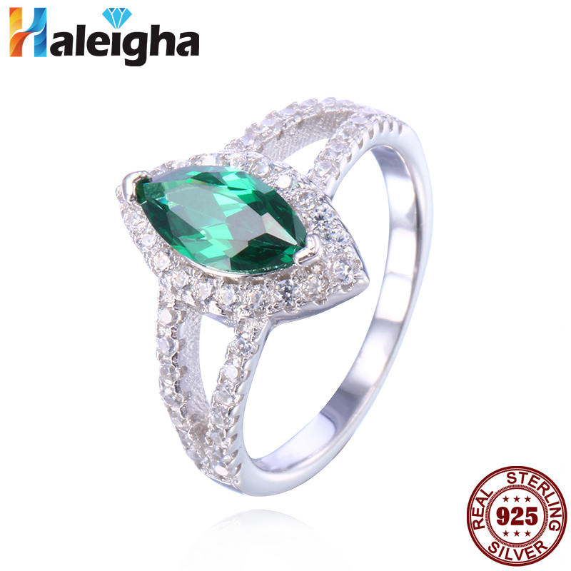 Gorgeous Created Marquis Cut Green Emerald Engagement Rings for Women Halo Split Shank Silver 925 Jewelry Haleigha anillos mujer